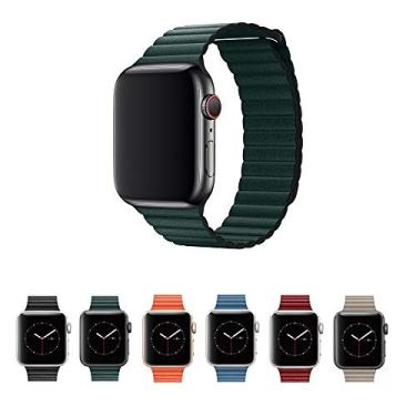 Pulseira Couro Loop para Apple Watch 44mm e 42mm Series 1 2 3 4 5 - Marca Ltimports (Verde)