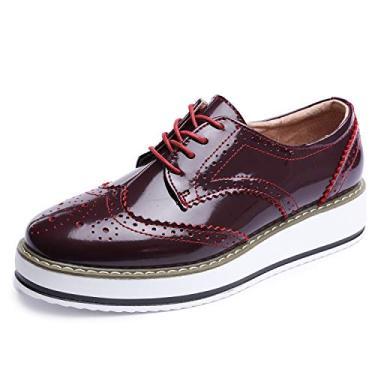 Sapatos femininos Catata Wingtip Wedges Oxfords Plataforma de cadarço Brogues Casamento, Vermelho, 9