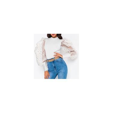 Blusa feminina Puff manga comprida streetwear malha de lantejoulas patchwork clube festa camisa casual plus size tops Branco L