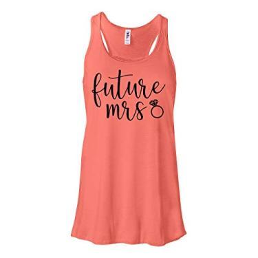 Camiseta regata feminina Future Mrs Bride, Coral, M