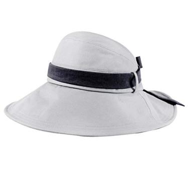 SOIMISS Chapéu de sol de aba larga dobrável chapéu de proteção anti-UV Chapéu de pescador Protetor solar para viagens ao ar livre na praia (cinza, M, 56-58 cm)