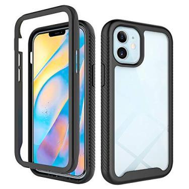 JZ Capa de celular transparente frontal e traseira de 360 graus compatível com iPhone 12 Mini capa bumper de corpo inteiro - preta
