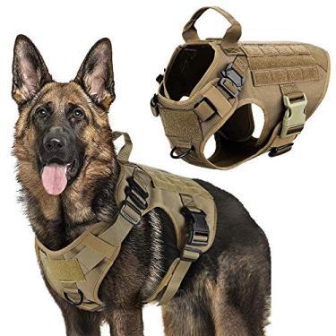 Imagem de Peitoral para cães e coleira para adestramento de cães, fivela de metal ajustável, colete para cães grandes, pastor alemão, G
