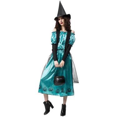 Imagem de Fantasia Bruxa Briana Verde Adulto Com Colete de Halloween