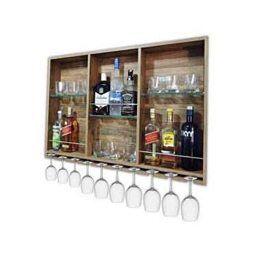 Imagem de Barzinho Para Sala Aparador De Parede Adega Vinhos Bebidas Madeira MDF 100x70cm Western