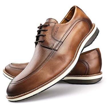 Sapato Casual Oxford Masculino Couro Caramelo Tamanho:37;Cor:Marrom;Gênero:Masculino