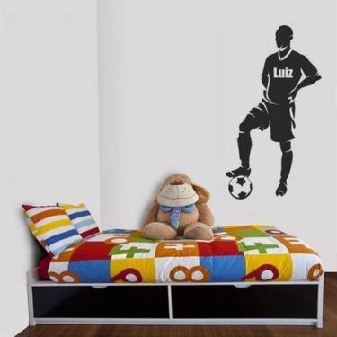 Adesivo de Parede Jogador de futebol com nome personalizado - Médio 50x90cm 616beb1c8aad1
