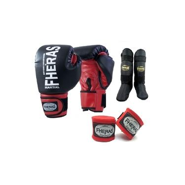 Kit Boxe Muay Thai Fheras New Orion Luva+Band+Caneleira Free Pr/Vm 011