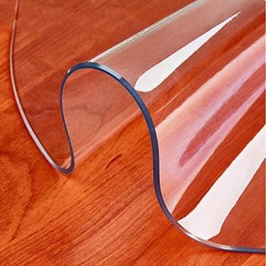 Protetor de mesa de PVC transparente Cobertura de mesa de café transparente redonda Toalha de mesa de plástico de cozinha Bancada de trabalho pesada de 1,5 mm Pano de mesa impermeável de vidro macio