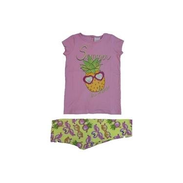 Conjunto Momi Blusa e Legging Rosa e Amarelo F6921