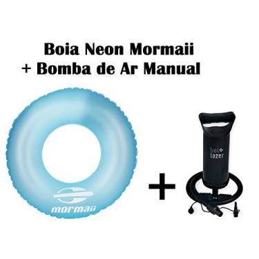 Kit 01 Boia inflável neon Azul Mormaii+ Bomba de Ar Manual Bel fix