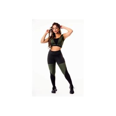 Imagem de Conjunto Fitness Feminino Calça Legging Preta com Verde Militar Cintura Alta e Cropped Regata Academia