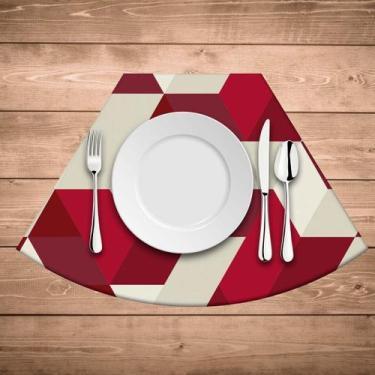 Imagem de Jogo Americano Para Mesa Redonda Wevans Red Geometric - Love Decor