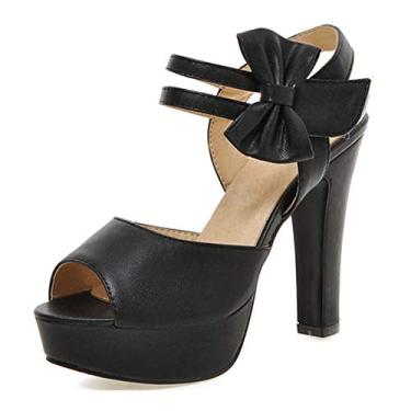 SaraIris sandália feminina plataforma linda flor salto alto festa casamento bico aberto sandália feminina sapato scarpin, Preto, 11