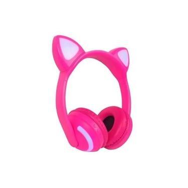 Fone de ouvido headphone bluetooh com orelha de gato rosa