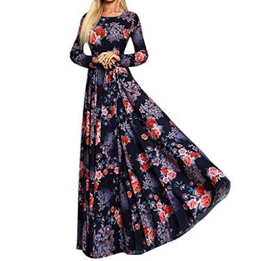 soAR9opeoF Women's Casual Maxi Dress Women's Vintage Cocktail Party Swing Dress,Casual Women Floral Print Slim Square Neck Large Swing Long Sleeve Maxi Dress 2XL Red