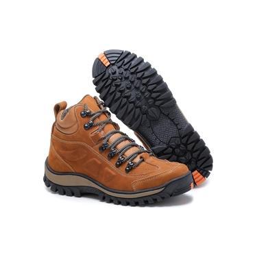 Bota Adventure Tchwm Shoes Couro Palmilha Gel Duravel Laranja Escuro