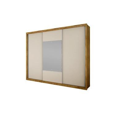 Imagem de Guarda Roupa Casal Com Espelho 3 Portas Arezzo Gold Novo Horizonte Freijó Dourado/off White