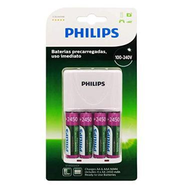Imagem de Carregador de Pilhas Philips com 4 Pilhas Aa Recarregáveis 2450mAh SCB2445NB Bivolt Branco