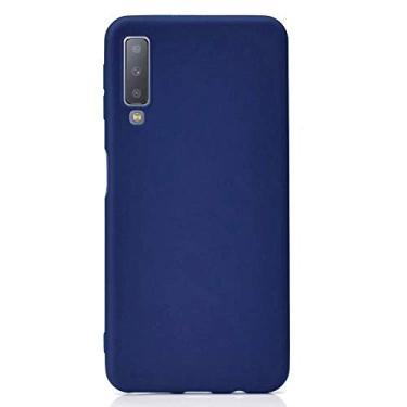 SHUNDA Capa para Galaxy A7 (2018), capa protetora de telefone para Samsung Galaxy A7 (2018) ultra fina de silicone TPU macio fosco à prova de choque para Samsung Galaxy A7 (2018) - Azul marinho