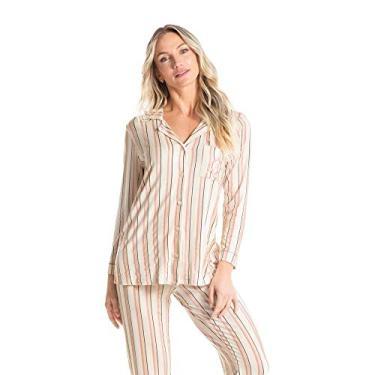 Pijama Monica Abotoado Longo Bege/P
