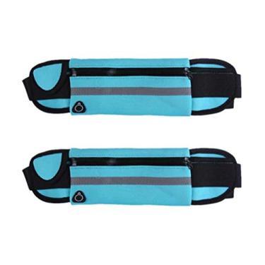 Pochete Besportble 2 peças à prova d'água, pochete para caminhada, corrida (preto), Sky-blue, M