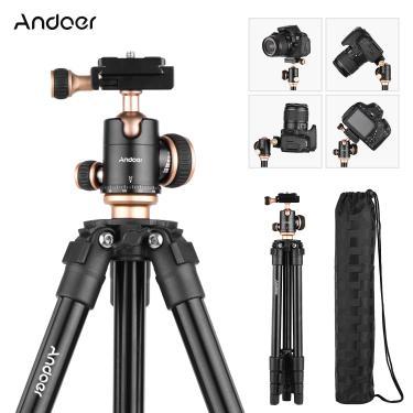 Imagem de Andoer-tripé panorâmico para câmera, ajustável, altura ajustável, câmera digital dslr, canon, nikon,