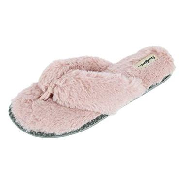 Chinelo de dedo feminino Dearfoams Marie Furry, Dusty Pink, Medium