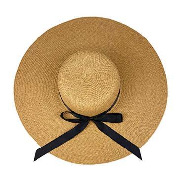 Chapéu de palha feminino com aba larga e protetor solar, chapéu de praia dobrável dobrável, 5,5 em cáqui, M