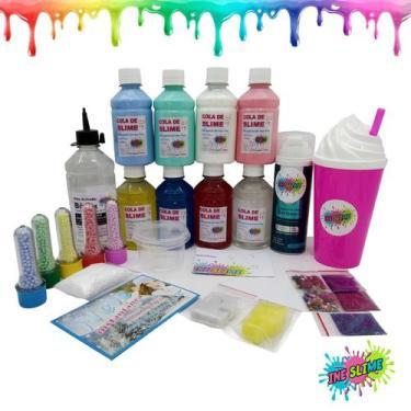 Imagem de Kit Slime Completo Colas Coloridas Cola Branca Cola Transparente Neve