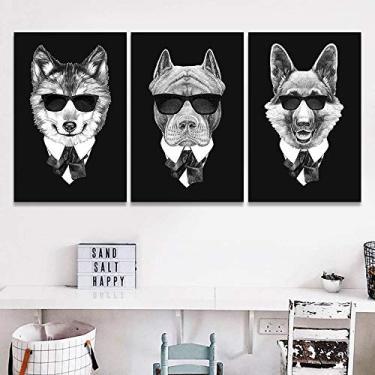 Quadro Mosaico 120x60 Cachorro Máfia Pug Bulldog Labrador