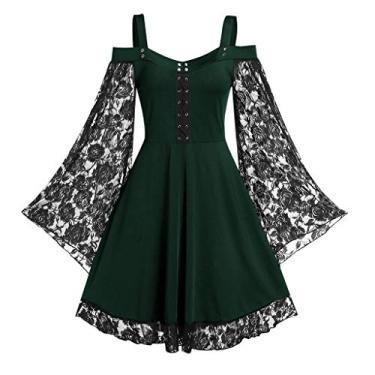 Vestidos góticos para mulheres plus size de renda cruzada camiseta vestido manga borboleta irregular cosplay Chaofanjiancai, G-green, X-Large