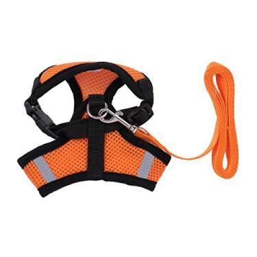 Imagem de Coleira para cães Popetpop com colete, peitoral e costas no peito, respirável e ajustável para cães pequenos (tamanho G, laranja