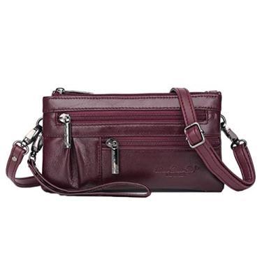 Imagem de Mini bolsa de ombro feminina fashion para damas clutch festa casamento envelope bolsa de mão (vinho vermelho), Claret, M