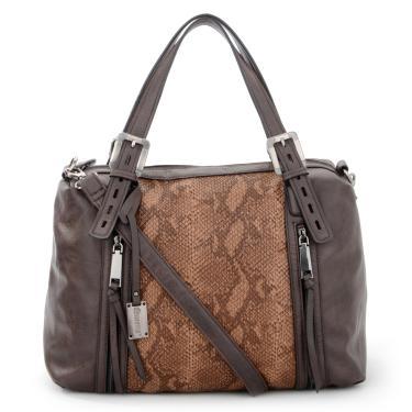 Bolsa Feminina com Alça Tiracolo Cobra 38cm x 36cm x 18cm Café - Queens a1806a1b98d