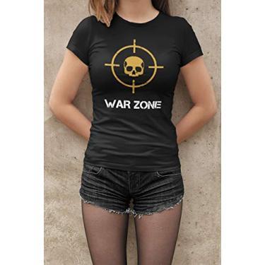 Camiseta Baby Look Warzone Feminino Preto Tamanho:P