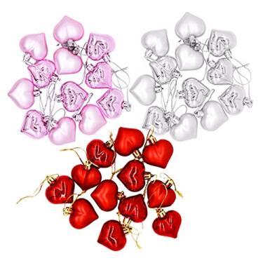 Imagem de ABOOFAN 36Pcs Ornamento Do Coração de Plástico de Natal Bola de Árvore de Natal Enfeites de Coração Vermelho Prata Rosa Pingente Inquebrável Ornamento de Suspensão Da Árvore Sazonal para