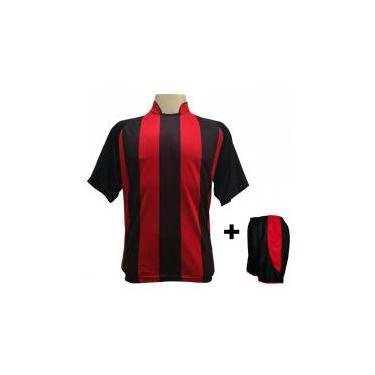 Uniforme Esportivo com 18 camisas modelo Milan Preto Vermelho + 18 calções  modelo Copa + 7a24a5c335458