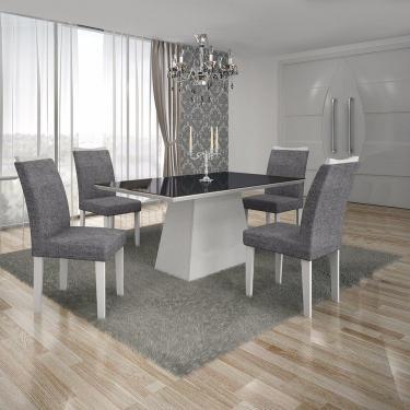 Conjunto Sala de Jantar Mesa Tampo MDF/Vidro Preto 4 Cadeiras Pampulha Leifer Branco/Linho Cinza
