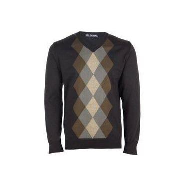 Casaco Suéter Masculino Algodão Gola V Casual Dia a Dia Marrom