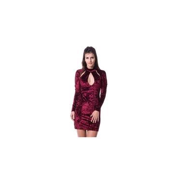 Vestido Feminino Curto Em Veludo Molhado Com Aberturas Outono Inverno Gisele Freitas