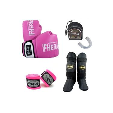 Kit Boxe Muay Thai Oríon - Luva Bandagem Bucal Caneleira - Rosa/Branco