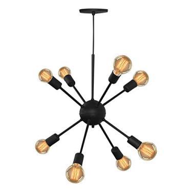Lustre Pendente Moderno Sputnik Para 8 Lâmpadas Preto