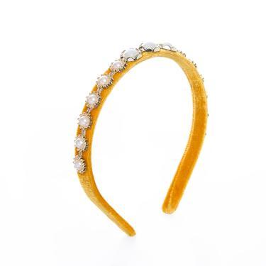Tiara veludo mix pérolas dourado Amarelo
