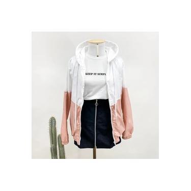 Blusa de Frio Feminina Corta Vento Branco e Rosa