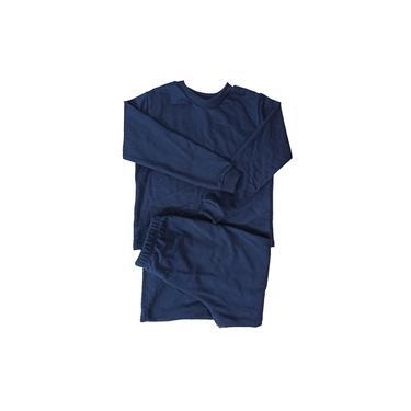 Pijama infantil inverno moletinho flanelado azul marinho 6 a 12 anos
