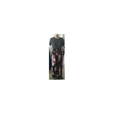 Mulheres Casual 3/4 listrado Patchwork Floral Imprimir Belt Tie Vestido Magro