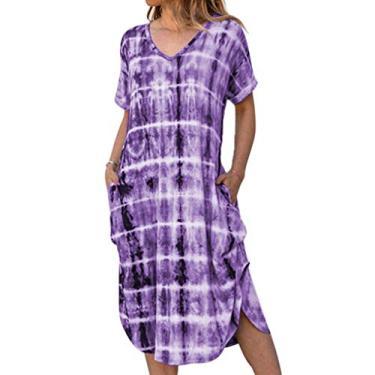 Vestido longo feminino Boho com bolsos, vestido longo casual de manga curta com gola V, tie dye lateral solto, Roxa, S