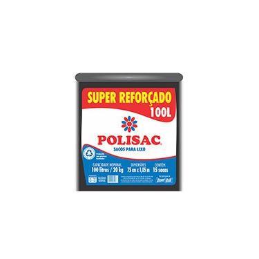 Saco para lixo 100lt preto super reforçado Polisac 0020987 Dover PT 15 UN