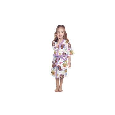 Roupão Felpudo Infantil Quimono Estampado Barbie Reinos Mágicos Pp com 1 Peça - Lepper